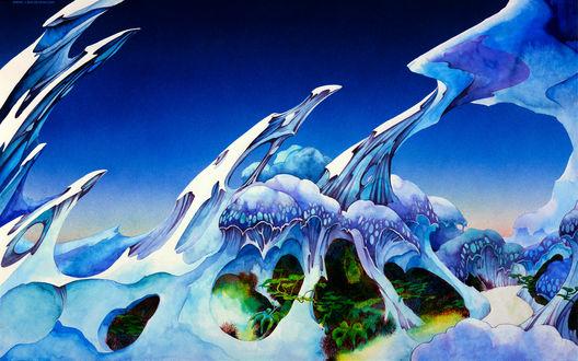 Обои Абстракция в виде фантастических скал и растений, художник Роджер Дин / Roger Dean/