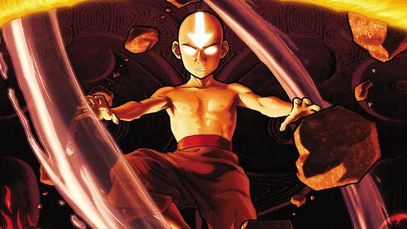 Обои Двенадцатилетний мальчика Аанга, герой мультсериала Аватар: Последний маг воздуха