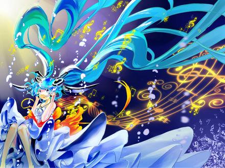 Обои Vocaloid Hatsune Miku / Вокалоид Хатсуне Мику в платье со шлейфом на фоне нотных знаков и пузырьков