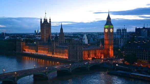 Обои Панорама вечернего Лондона. Мост через Темзу, Биг бен, Парламент
