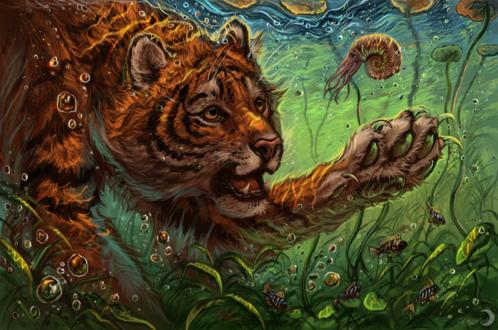 Обои Тигр плавающий под водой среди рыбок, by Flashw