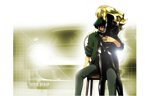 Обои Spike Spiegel и Julia в черном латексе из аниме Cowboy Bebop обнимаются