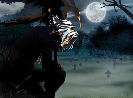 Обои Vicious из аниме Cowboy Bebop сидит ночью на кладбище в полнолуние с катаной и цаплей на плече, художник Toshiro Kawamoto
