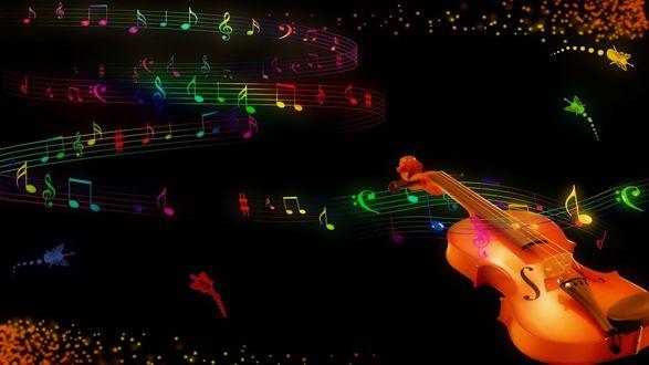 Обои На черном фоне лежит скрипка, вьется змейка с музыкальных нот, летают маленькие цветные скрипки с крылышками, в виде бабочек