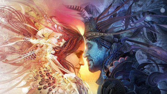 Обои Фантастические король и королева стоят в пышных нарядах и смотрят друг на друга