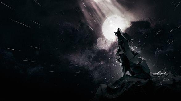 Обои Абстрактный волк, сидящий на скале и воющий на Луну