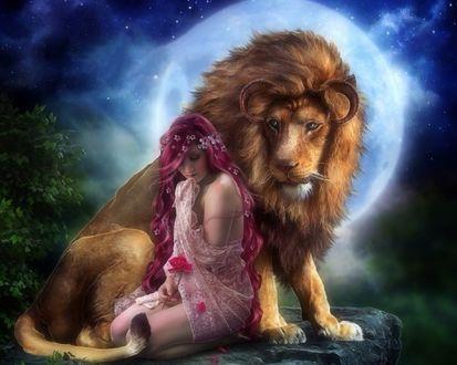 Обои Девушка сидит у ног рогатого льва на фоне полной луны и держит в руке красный цветок