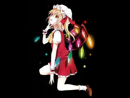 Обои Flandre Scarlet из игры Touhou о чем-то замечталась, на черном фоне