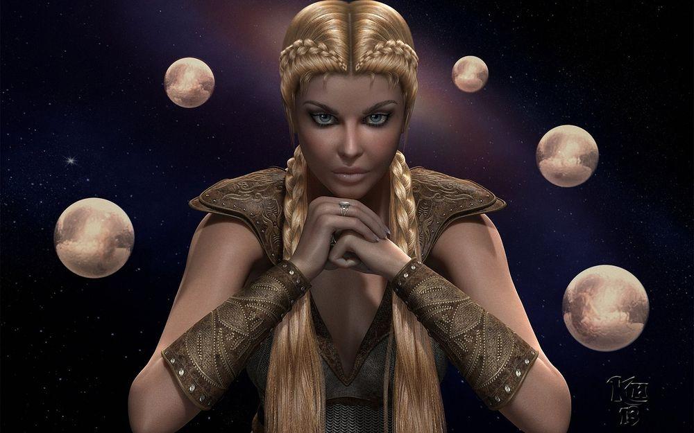 Обои для рабочего стола Девушка блондинка с косами на голове, сидит сложив руки в окружении планет
