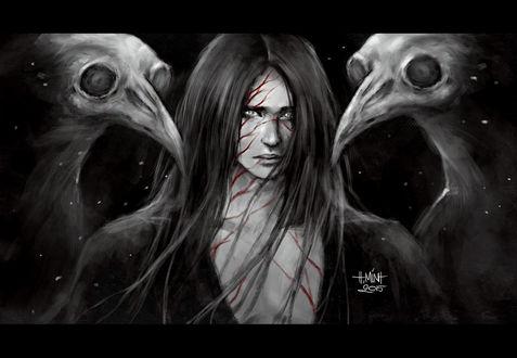 Обои Темноволосый парень и две скелетообразных птицы, art by NanFe
