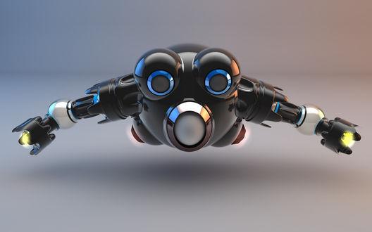 Обои Робот, подвешенный в воздухе / Robot suspendido en el aire