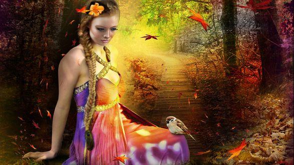 Обои Девушка с длинной косой, с цветком в волосах, сидит у тропинки в лесу, с птичкой на колене, в окружении падающих листьев