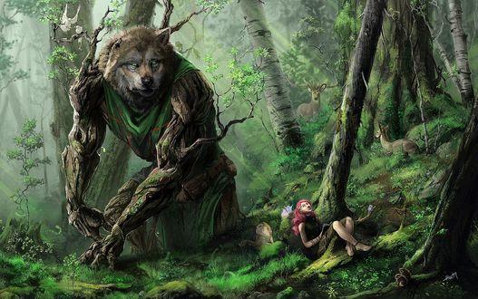 Обои Девушка сидит в лесу и не видит, как за спиной у нее поднимается Дух леса в виде огромного волка с лапами ветками