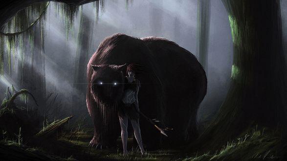 Обои Девушка с копьем стоит в лесу, возле огромного монстра со светящимися глазами, похожего на медведя