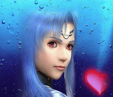 Обои На фоне стекла с каплями воды лицо девушки с красными глазами, знаком на лбу, надписью KOSMOS и красным сердечком рядом