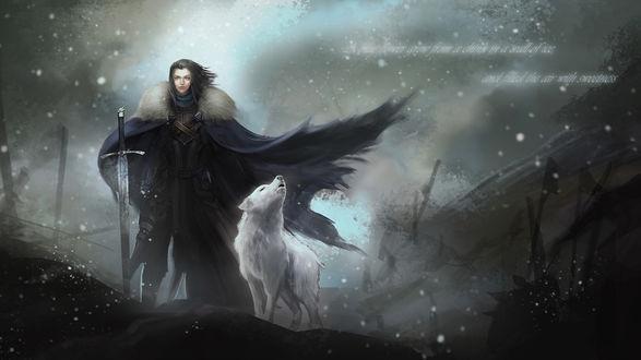 Обои Джон Сноу с мечом и воющий белый волк рядом из игры Game Of Thrones / Игра престолов