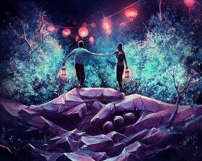 Обои Парень c девушкой стоят на каменных руках с фонариками в руках, а перед ними висят светящиеся фонарики, by AquaSixio