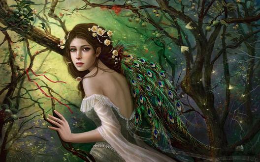 Обои Девушка с цветами и павлиньими перьями в волосах, стоит в лесу среди веток деревьев с плодами