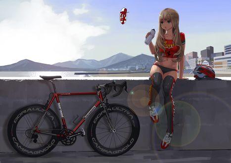 Обои Девочка сидит рядом с велосипедом