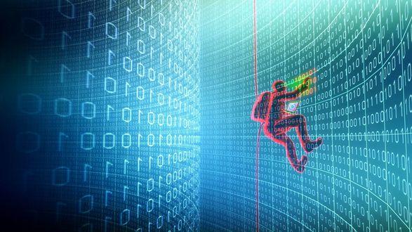 Обои Двоичный код, хакер пытается извлечь информацию