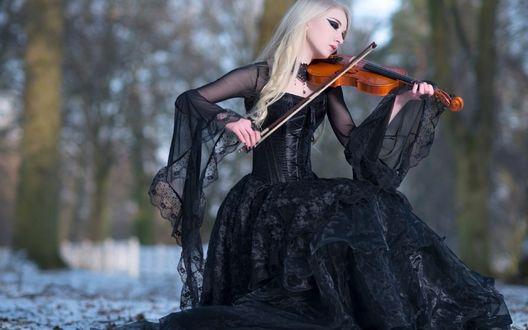 Обои Девушка в черном платье играет на скрипке