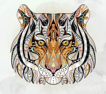 Обои Абстрактный тигр на белом фоне