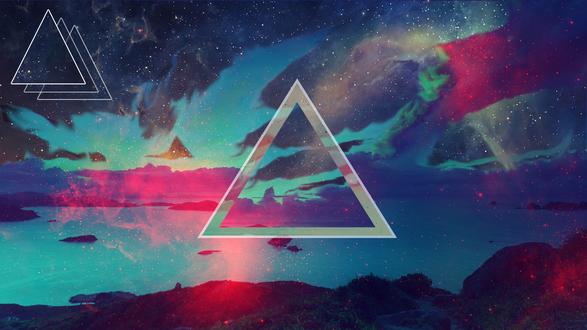 Обои Треугольники на фоне неба и воды