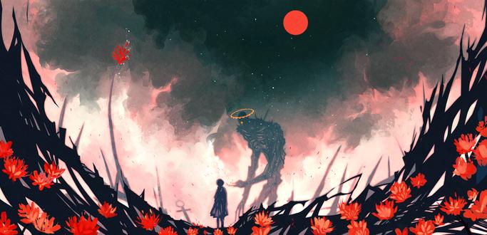 Обои Девушка стоит возле монстра, художник NanoMortis