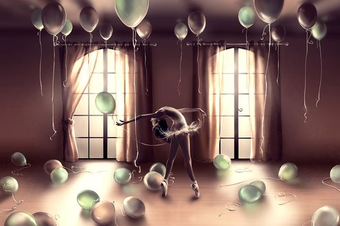 Обои Девушка балерина танцует в бальной комнате в окружении воздушных шаров
