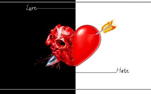 Обои Черное и белое, инь и янь, жизнь и смерть, на черно белом фоне изображено сердце пронзенное стрелой, Love / Любовь, Hate / Ненависть
