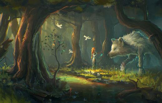 Обои Девушка-эльф с магическим кулоном в руке стоит у воды напротив огромного, белого волка, by Sylar113