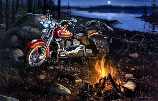 Обои На берегу ночного озера, возле камня стоит мотоцикл байкера Harley-Davidson, у горящего костра, художник Charles Freitag