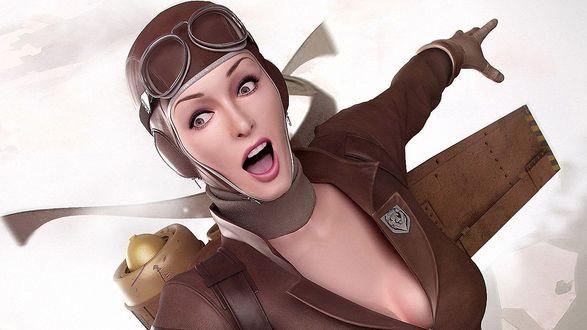 Обои Девушка пилот в летном шлеме с очками, с самолетом за спиной, показывает пальцем себе за спину и о чем то кричит