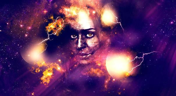 Обои Абстракция шаровых молний и лицо девушки на фоне космоса