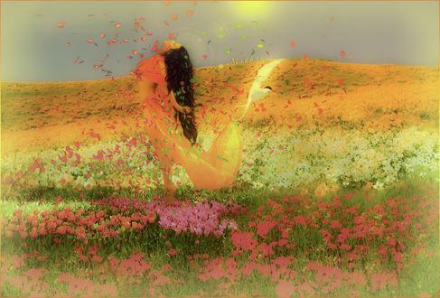 Обои Девушка в легком платье стоит в поле цветов в окружении бабочек? листьев и летящей птицы, Mahhona