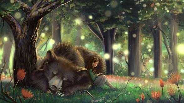 Обои Девочка с книжкой, сидит в лесу, опираясь о спящего медведя