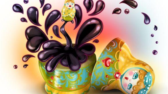 Обои Маленькая матрешка вылетает из большой с брызгами кофе на цветном фоне