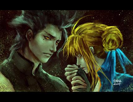 Обои Лансер / Lancer и Сейбер / Saber из аниме Судьба: Начало / Fate / Zero, art by NanFe