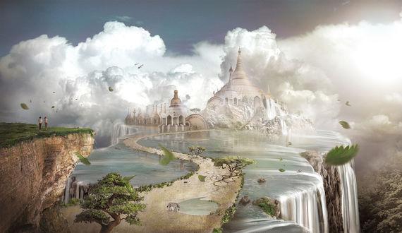 Обои Сказочный замок у водопада
