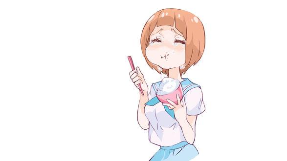 Обои Mako Mankanshoku в школьной матроске из аниме Kill la kill съела вкусняшку