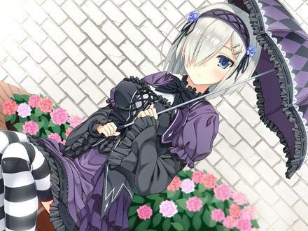 Обои Hamakaze в готическом наряде с зонтом в руках, персонаж из браузерной карточной игры в реальном времени Kantai Collection (KanColle) / Флотская коллекция, art by yujin-yujin