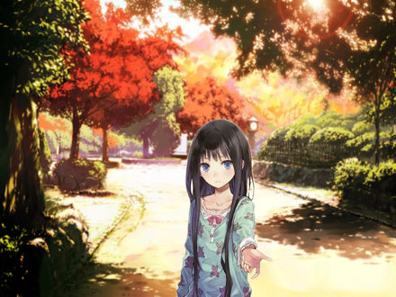 Обои Yuuko Shionji / Юко Сиондзи протянув руку вперед стоит в парке, персонаж из аниме Kamisama no Memo-chou / Блокнот бога