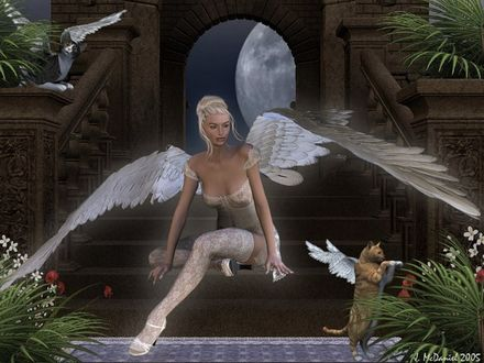 Обои Красивая белокурая девушка-ангел с котятами-ангелочками