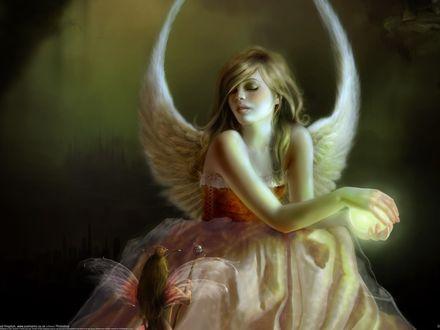 Обои Красивая девушка-ангел и эльф