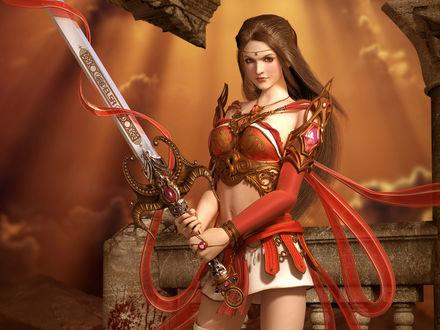 Обои Девушка воин с мечом в руках