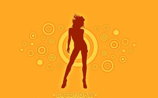 Обои Силуэт танцующей девушки / Silueta de una mujer bailando en una Disconight