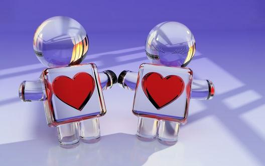 Обои Держащиеся за руки парень и девушка из стекла, с сердечками на груди. / Pareja conformada por un chico y una chica hechos de cristal con un corazГіn en la parte frontal