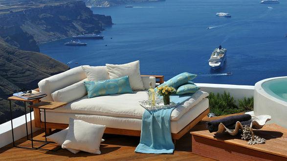 Обои Комфортный отдых на побережье, вино, цветы, пейзажи