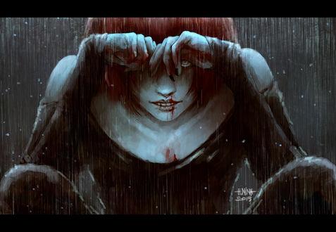Обои Парень с окровавленным лицом и руками, art by NanFe