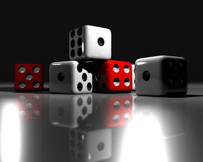 Обои Красные и белые кубики для игры в кости